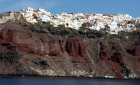 House perched on the cliffs at Santorini