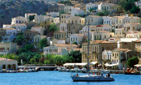 Classical houses overlooking Symi harbour