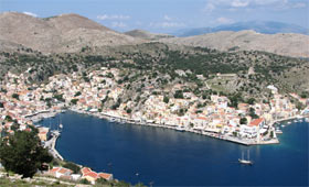 Panoramic view of Symi Harbour