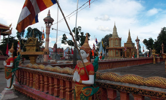 Buddhist flag and stupas