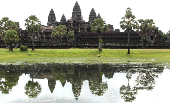 The familiar view of Angkor Wat