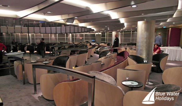 The MS Europa 2 theatre features at-table service