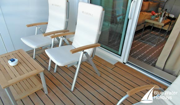 Spacious balconies are a feature of MS Europa 2