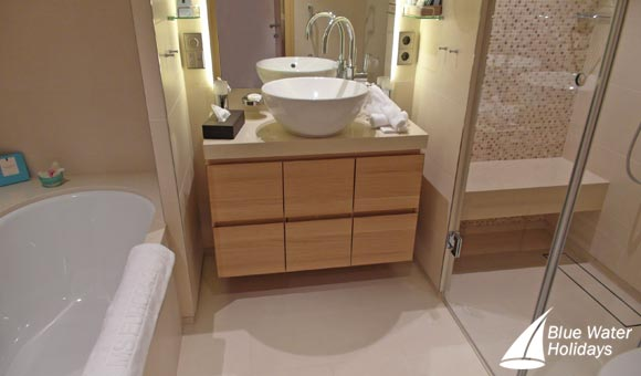 Like all Suites on Europa 2, the Veranda Suite has separate bath and shower