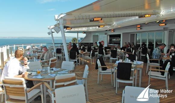 The Yacht Club restaurant includes an open deck area