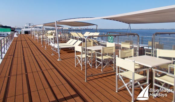 Relax and enjoy great views on the Sun Deck