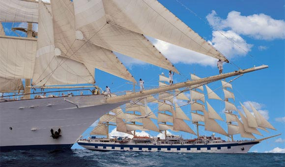 Voyage under full sail on our tall ship cruises