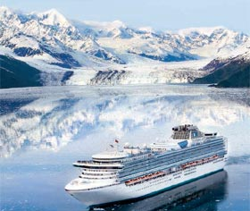 Princess ship amongst the glaciers