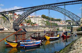 Boats on the Douro River at Porto
