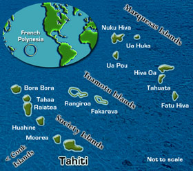 Paul gauguin cruises in the south pacific from cruising holidays map of tahiti and french polynesia gumiabroncs Image collections