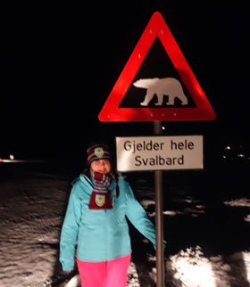 Polar Bear Sign Outside Longyearbyen