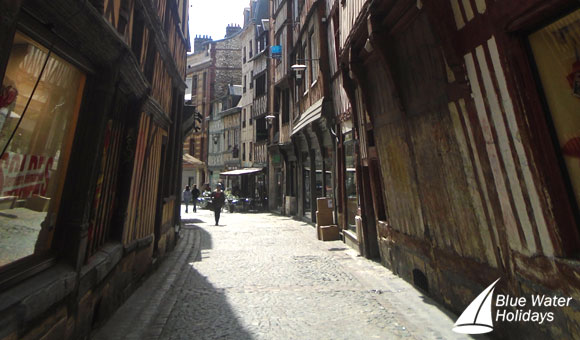 Stroll along Rouen's charming narrow streets
