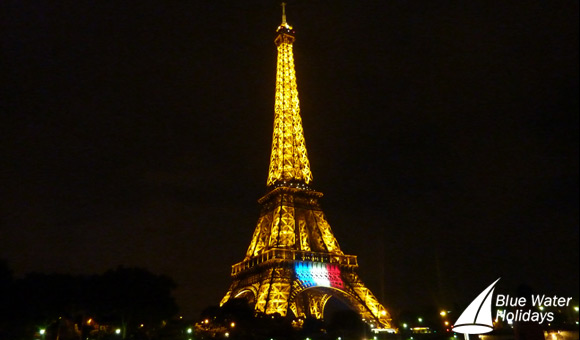 The illuminated Eiffel Tower