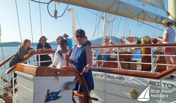 Ann at the helm of Star Clipper