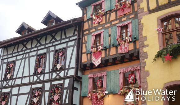 Beautifully decorated houses in Riquewihr