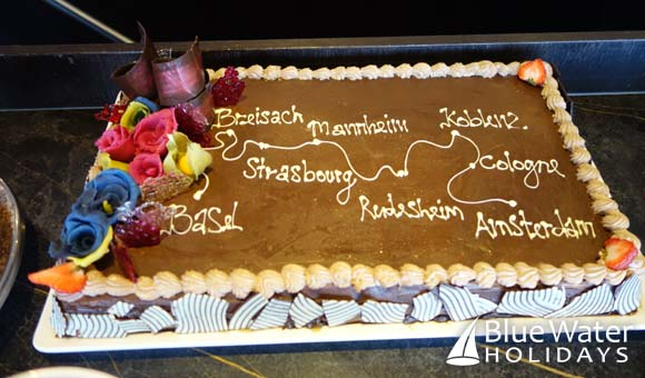 Cake showing the cruise itinerary