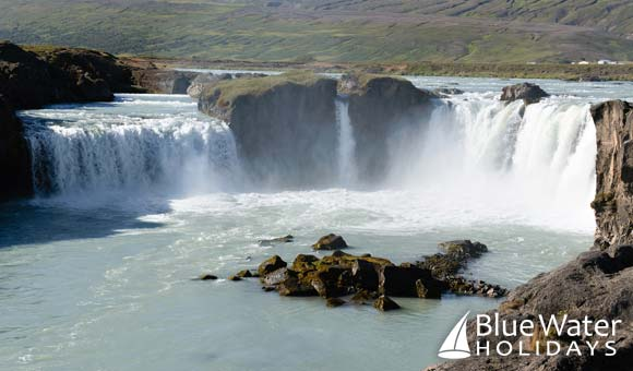 Admire Godafoss Waterfalls on a voyage to Iceland