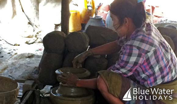 Making the traditional pottery in Yandabo