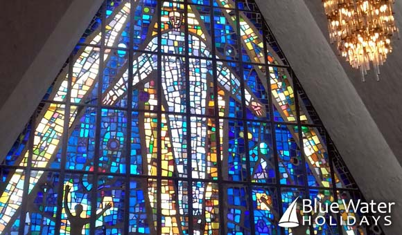 Stunning stained glass in the Arctic Cathedral in Tromso