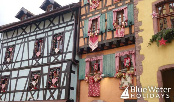 Festively decorated houses in Riquewihr
