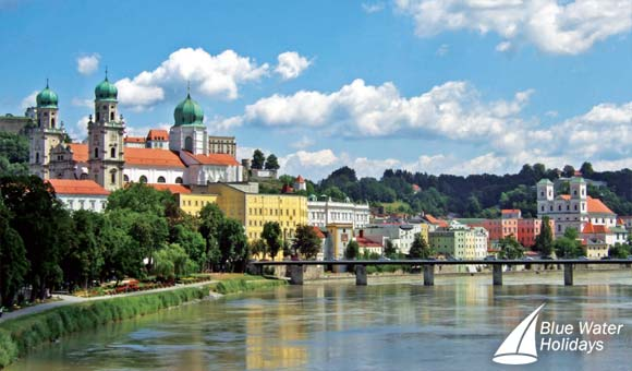 Passau at the confluence of the Inn, Ilz and Danube rivers