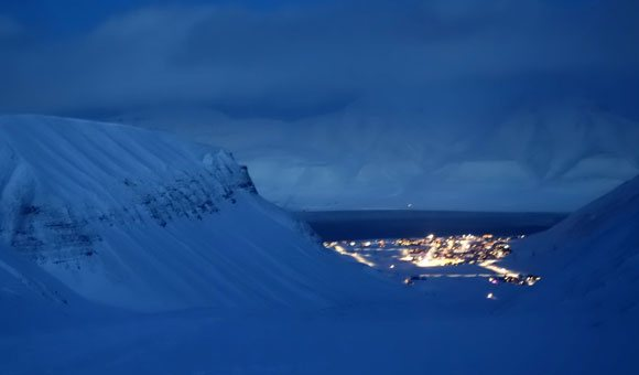 View of Longyearbyen from Ice Caving