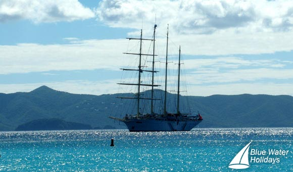 Star Clipper moored off Jost van Dyke